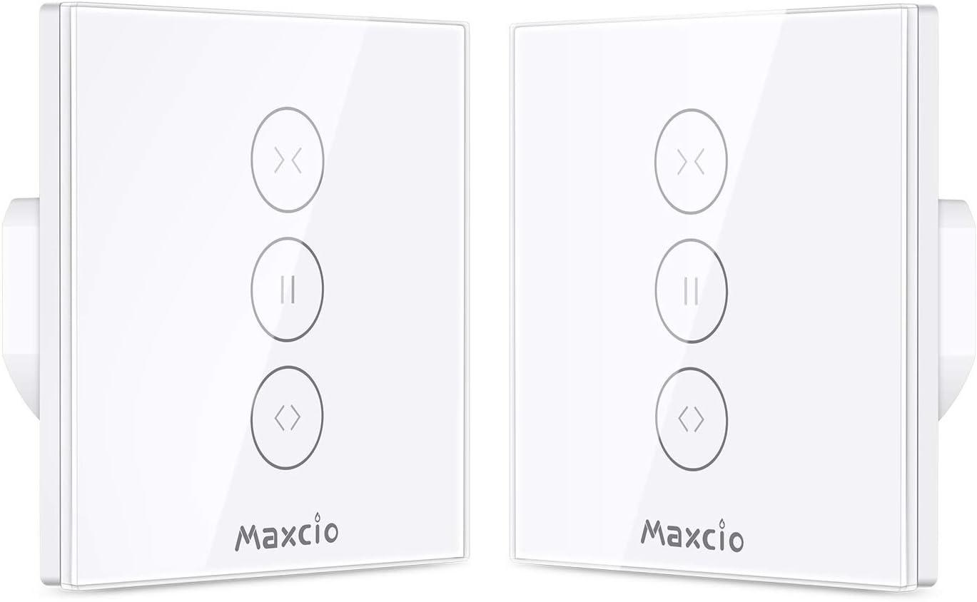 【LED Controlable】Alexa Interruptor Persiana, Maxcio Interruptor Cortina WiFi Compatible con Alexa y Google Home, Control de APP y con Temporizador, para Motor Persiana, Motor de Obturador