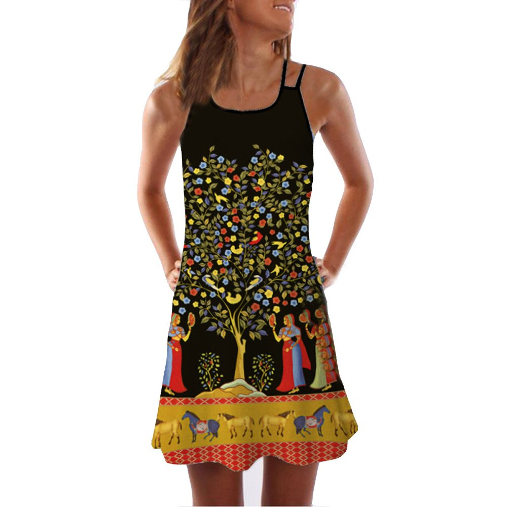 Women Loose Halter Neck Sleeveless Vintage 3D Floral Print Beach Mini Tank Dress (Black, S)