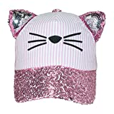Jeanne Simmons Girls' Cat Baseball Cap with Sequin Brim and Ears, Pink