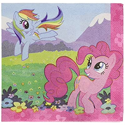 amscan Charming My Little Pony Friendship Birthday Party Beverage Napkins Tableware (16 Pack), Multi Color, 5