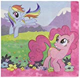 "Amscan Charming My Little Pony Friendship Birthday Party Beverage Napkins Tableware (16 Pack), Multi Color, 5"" x 5"""
