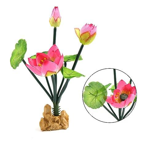 Sourcingmap® Plástico De Color Rosa Flor De Loto Ornamento Acuático para Peces De Acuario Tanque