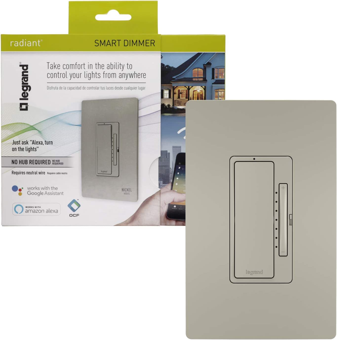 Legrand - Pass & Seymour Radiant WWRL50NICCV2 Tru-Universal Enabled Dimmer, Nickel Smart Wi-Fi Switch
