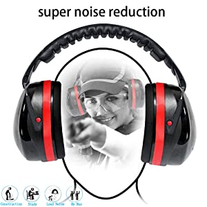 Noise reduction earmuffs, vaxiuja Shooting earmuffs, 35dB Highest NRR Safety Ear Muffs, Adjustable Ear Defenders for Industrial