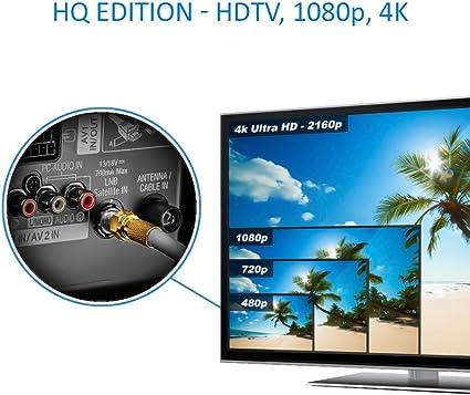 deleyCON HQ 50m Cable Coaxial Sat 130dB Blindado de 4 Capas DVB-S+S2 DVB-T DVB-C Cable de Banda Ancha 4K 1080p Full HD HDTV 10 Conectores F Dorados