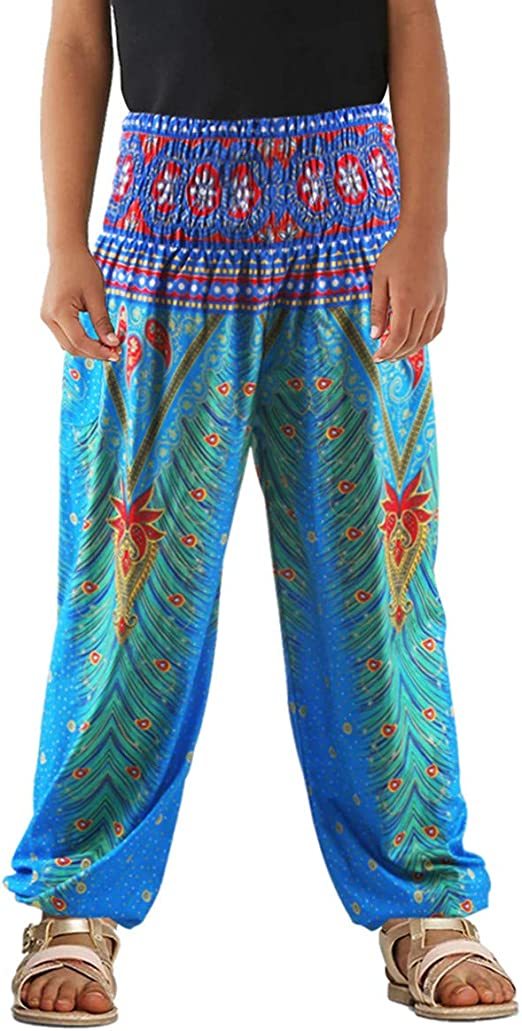 TENMET Little Girls Yoga Trousers Bohemian Beach Pants Baggy Harem Activewear for Girls Age 3-10