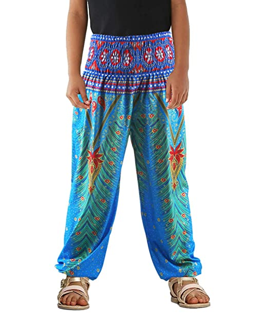 fc14a1fa0 Amazon.com: TenMet Little Girls Yoga Trousers Bohemian Beach Pants Baggy  Harem Activewear for Girls Age 3-10: Clothing