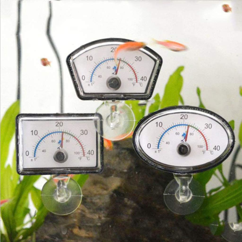Autone Aquarium Reptile Thermometer Pointer 0 to 50 Degrees Celsius Fish Tank Temperature Dial Submersible Suction Cup
