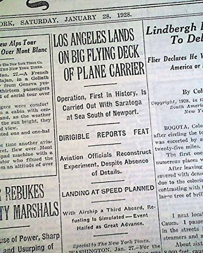 FIRST AIRSHIP to Land on Aircraft Carrier USS LOS ANGELES Zeppelin1928 Newspaper THE NEW YORK TIMES, January 28, (January Crafts)