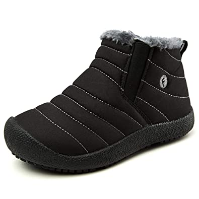 3d145324d5d AFT AFFINEST Boys Girls Snow Boots Waterproof Slip On Fur Lined Sneakers  Winter Warm Shoes