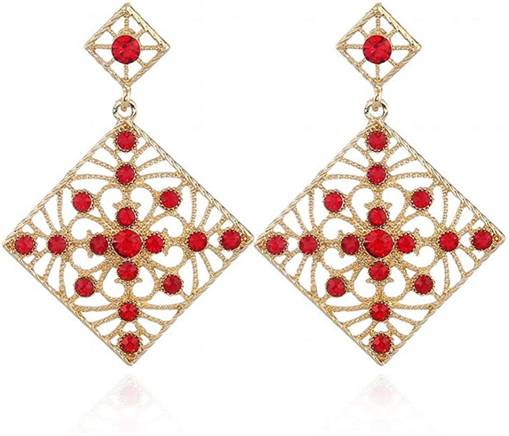 Yiiana Pendientes de moda Joyería de las mujeres Pendientes de botón Pendientes de moda geométricos cuadrados huecos de diamantes exagerados