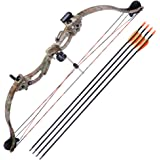 "AW 34"" Junior Compound Bow Kit w/4pcs 28"" Arrow Set Youth Archery Right Hand Draw Weight 20lbs Hobby"