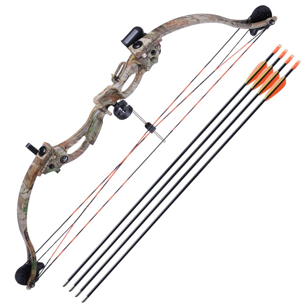 AW 34'' Junior Compound Bow Kit w/ 4pcs 28'' Arrow Set Youth Archery Right Hand Draw Weight 20lbs Hobby