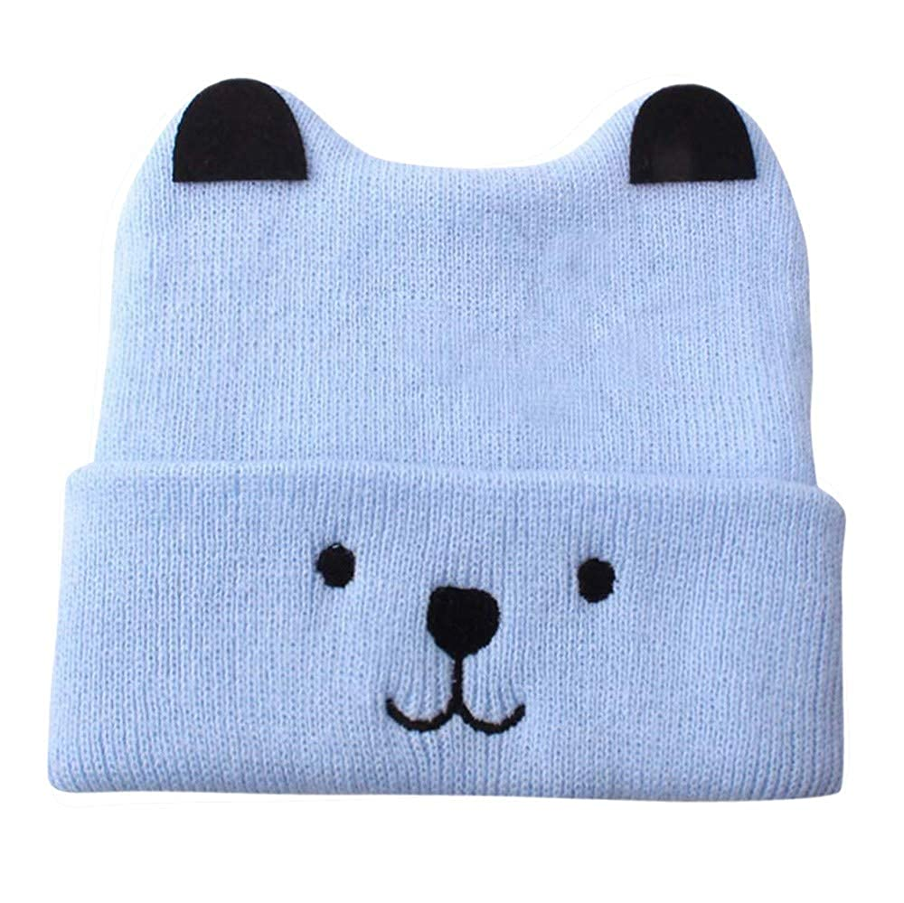 e7e76ad9b0b CATSAP Infant Baby Boys Girls Cute Bear Knitted Hat Toddler Crochet Beanie  Cap Warm Winter Coif for Kids (Blue)  Amazon.in  Clothing   Accessories