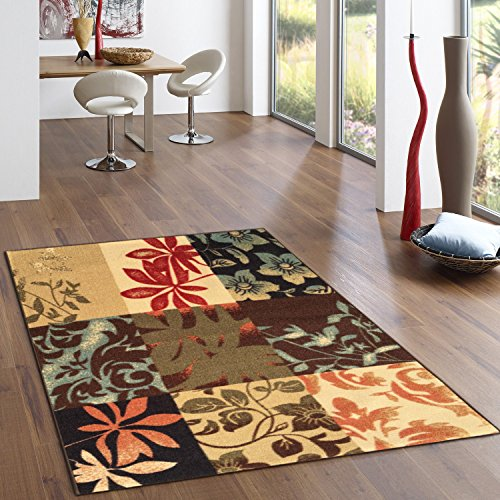 Rubber Backed 2-Piece Rug SET Italian Floral Panel Boxes Brown Multicolor Non-Slip Area Rug - Rana Collection Kitchen Dining Living Hallway Bathroom Pet Entry Rugs RAN2029-2PC (4 Piece Italian)