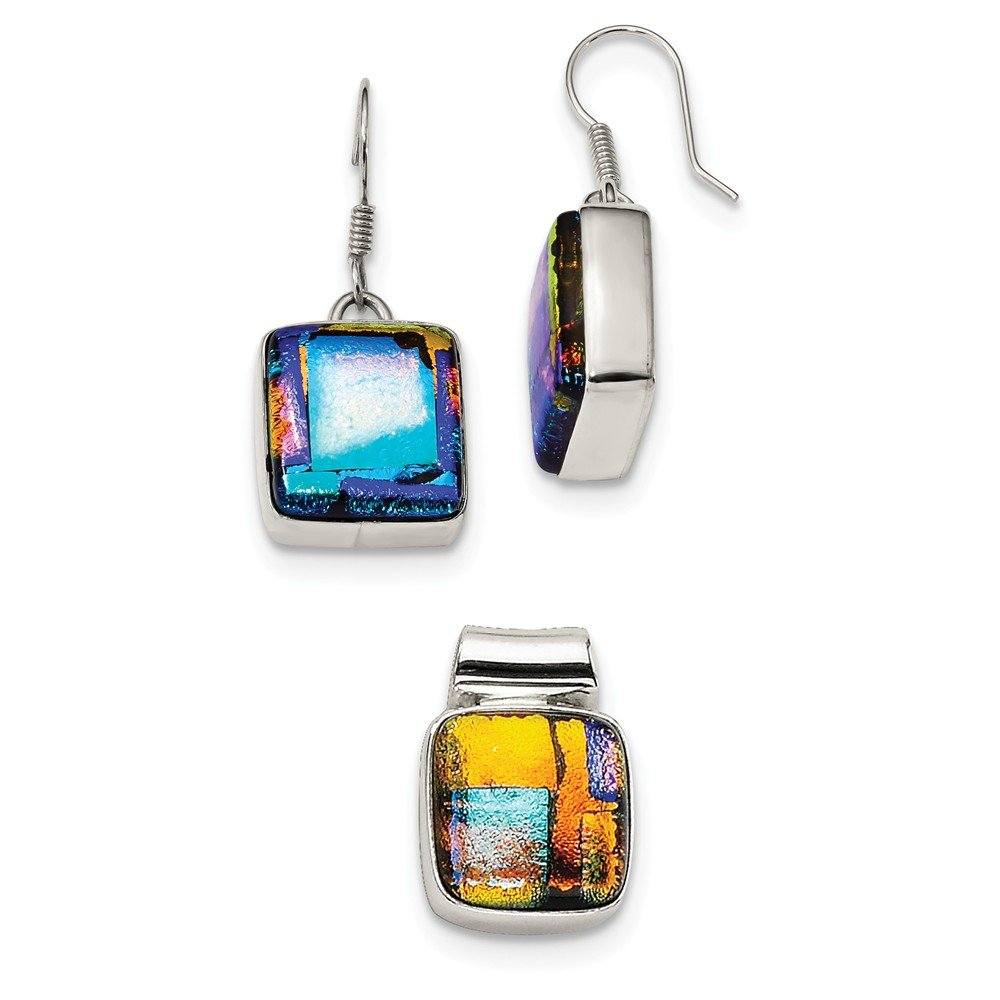 Sterling Silver Muliticolor Dichroic Glass Square Earrings &Pendant