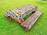 Ambesonne Doodle Outdoor Tablecloth, Various Home Interior Elements Armchair Table Mirror Design Elements Doodle Style, Decorative Washable Picnic Table Cloth, 58 X 84 inches, Multicolor