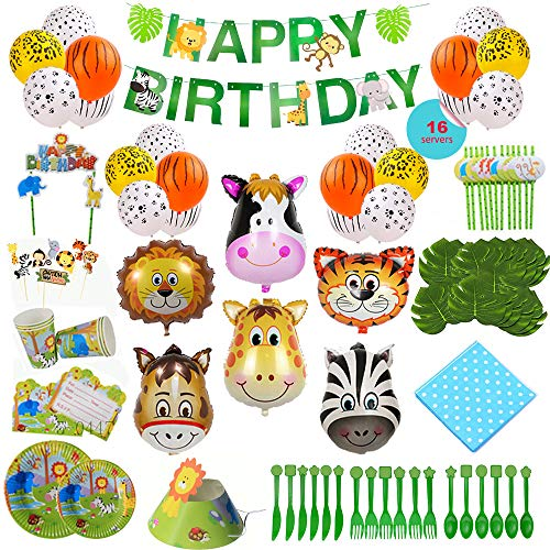 Animal-Themed Birthday Party Supply, 228 PCS - 16 Serves, Jungle Zoo Farm Safari Invites/Tableware/Favors/Balloons/More! -