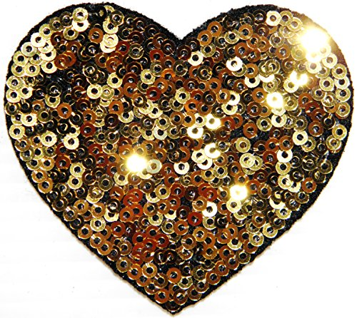 Gold Heart Sparkly Sequin Shine Shiny Patch Sew Iron on Embroidered Applique Craft Handmade Baby Kid Girl Women Sexy Lady Hip Hop Cloths DIY Costume