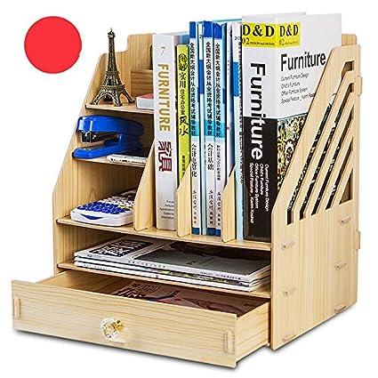 Caja de almacenamiento de escritorio A4 multicapa para archivadores de oficina suministros marco de almacenamiento de