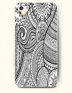 OOFIT Apple iPhone 5 5S Case Paisley Pattern ( Black and White Paisley Zendoodle )
