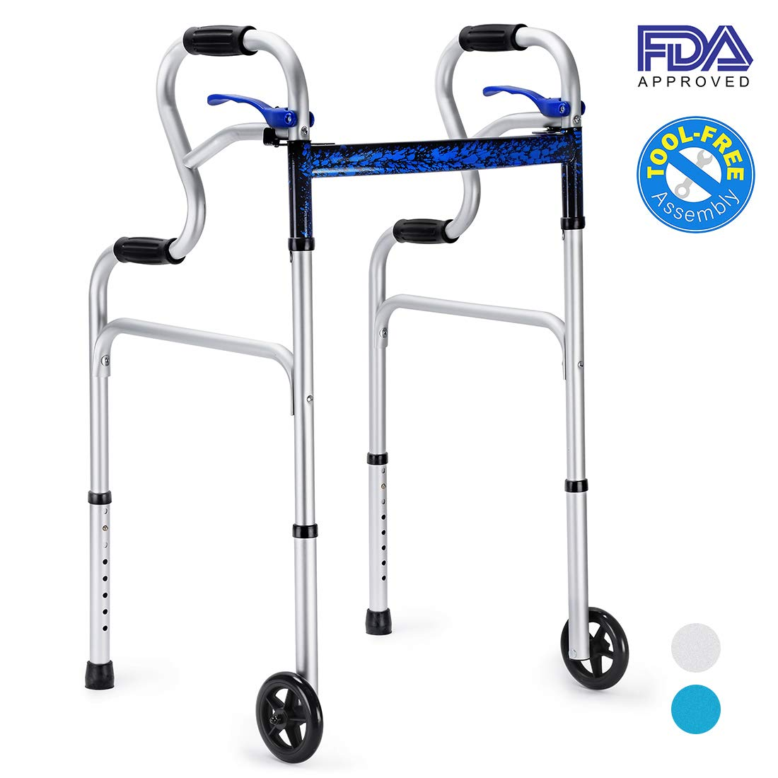 Health Line 3 in 1 Rising-Aid Folding Walker with Trigger Release and 5'' Wheels Supports up to 350 lbs, Compact Lightweight & Portable - w/Bonus Glides, Silver by HEALTH LINE MASSAGE PRODUCTS