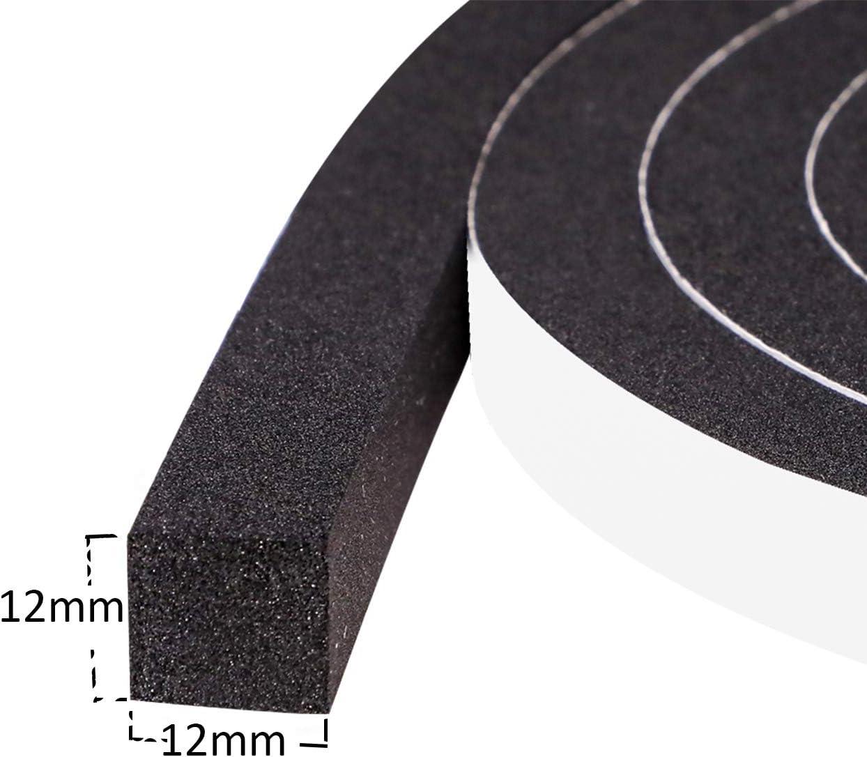 fowong Bande adh/ésif en Mousse 12mm x 1,5 mm x10 m Porte-fen/être /étanche aux courants dair Bande de protection Bande d/étanch/éit/é