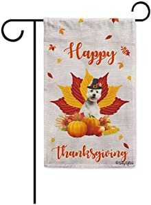 BAGEYOU Happy Thanksgiving Day with My Lover Dog West Highland White Terrier Westie Garden Flag Harvest Season Pumpkin Maple Leaf Fall Decor Home Banner for Outside 12.5x18 Inch Print Both Sides