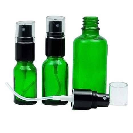 6 botellas de cristal vacías verde con atomizador Cap Negra