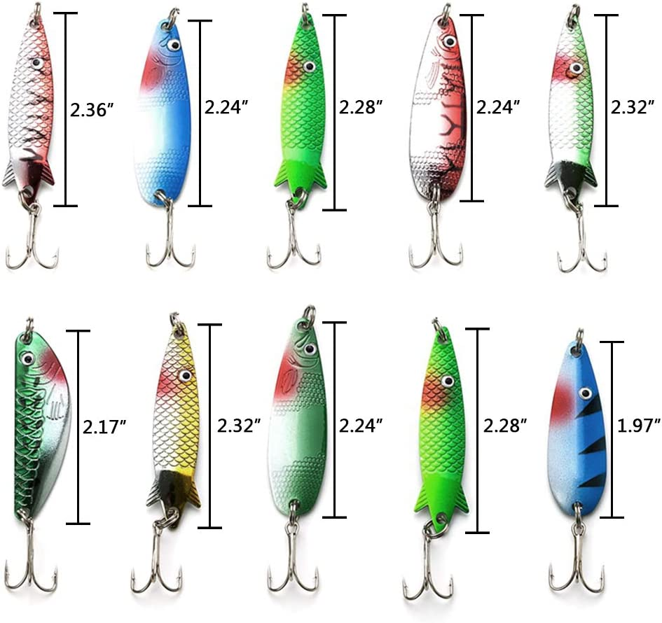 Details about  /Spoon Fishing Lures Treble Hook Salmon Bass Metal Hard Fishing Baits
