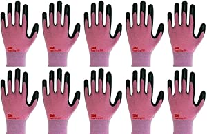 3M Lightweight Nitrile Work Gloves Supegrip200, 3D Comfort Stretch Fit, Durable Power Grip Foam Coated, Smart Touch, Thin Machine Washable, 10 Pairs Pack (Small, Pink)
