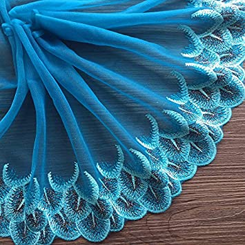 Amazon Com Zaione Peacock Feather Embroidery Lace Trim Ribbon