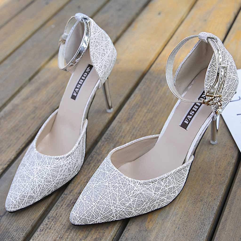 Solike Femme Escarpins Chaussures Boucle Bride /à La Cheville Talon Haut Sandales Bout Pointu Talon Aiguille El/égant Bureau Travail