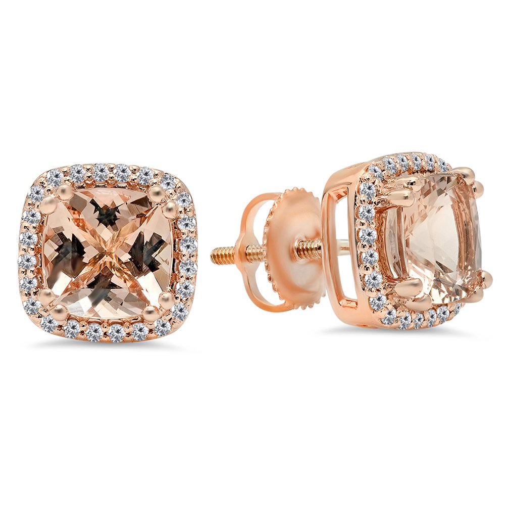 14K Rose Gold Cushion Cut Morganite & Round Cut White Diamond Ladies Halo Style Stud Earrings