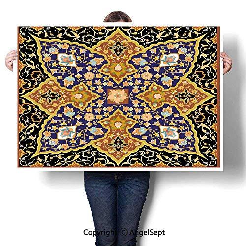Baihemiya Blanket Waterproof Paintings Artwork Simple Modern,Arabic Islamic Floral Mosaic Patterns South Eastern Antique Orient Ottoman Artwork Multicolor,W28 XL20,Home Decor Wall Art (Cave Christmas South Castle)