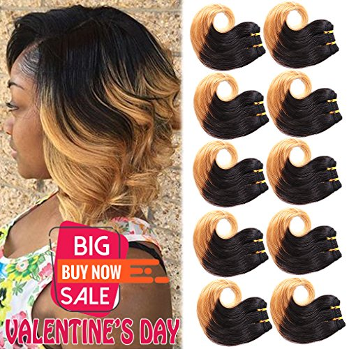 B-Fashion Unprocessed Virgin Brazilian Ombre Human Hair Extensions Cheap Two Tone Body Wave Bundles 8 inch Short Curly Remy Hair Weaves Color 1B 27 30g/Piece 10Pcs/Package Total 300g