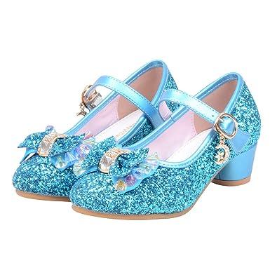 ea1b284fe muium Kids Girls Low Heel Pearl Crystal Bling Bowknot Single Shoes Wedding  Party Prom Dancing Ballroom