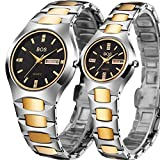 BOS Watch His and Hers Elegant Quartz Wrist Couple Watches for Lovers Metal Bracklet (Gold)