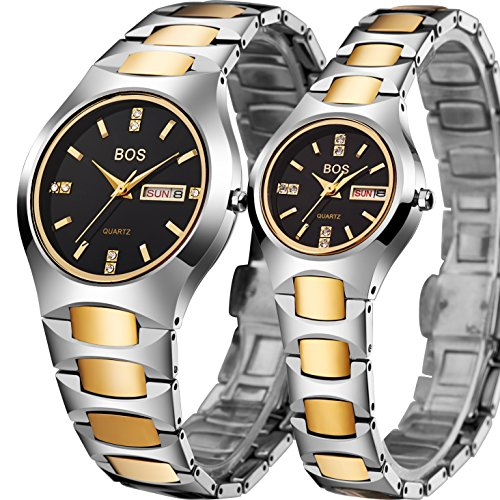 BOS Watch His and Hers Elegant Quartz Wrist Couple Watches for Lovers Metal Bracklet (Gold) by BOS