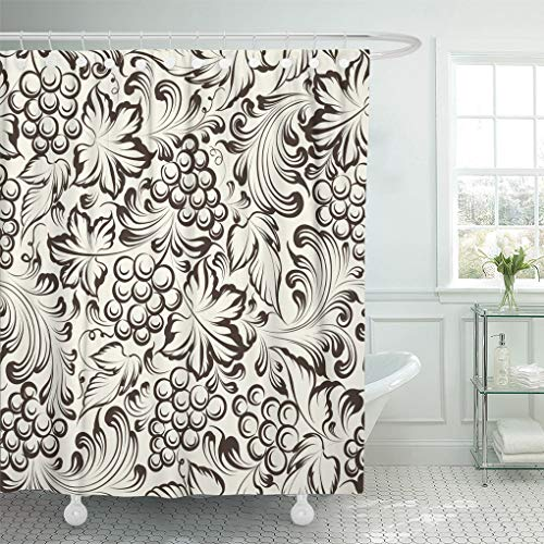 Emvency Shower Curtain Pattern Grape Vine Wine Leaf Vineyard Grapevine Sketch Winery Shower Curtains Sets with Hooks 72 x 78 Inches Waterproof Polyester Fabric
