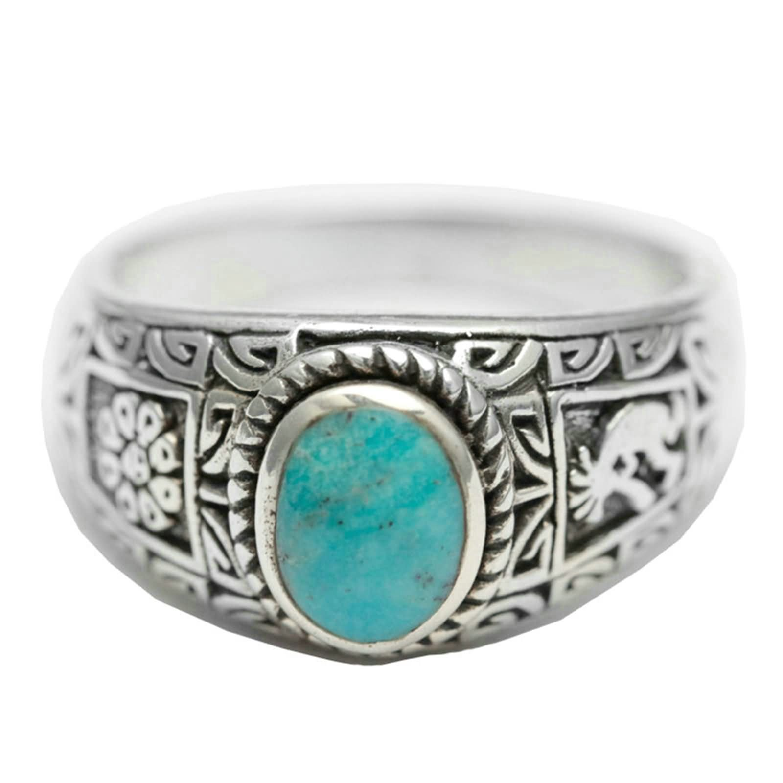 Bishilin Rings for Men Silver Plated Oval Turquoise with Totem Partner Rings Silver Size 12