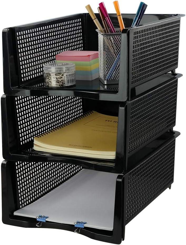 Ponpong Organizadora Bandeja Apilable Portadocumentos A4 de Plástico para Archivos, Color Negro, 3 Unidades