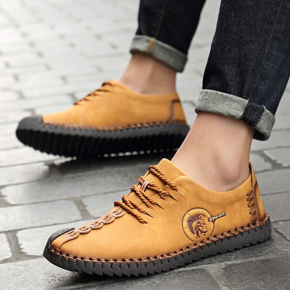 Zapatos de Cordones Derby para Hombre Zapatos de Cuero Casual de los Hombres Moccasins de conducci/ón Hombre Oxford Walking Vestido Zapatos