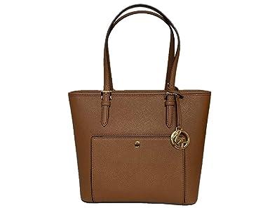 330fd54ad98 Amazon.com  Michael Kors Jet Set Item Medium Top Zip Saffiano Leather Snap  Pocket Tote - Luggage  Shoes