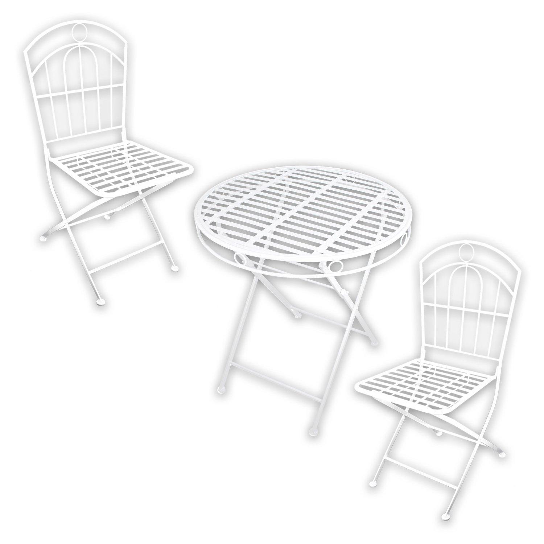 Metall Gartenmöbel SET - 1x Tisch 2x Stuhl White Spirit in weiß lackiert für indoor und outdoor
