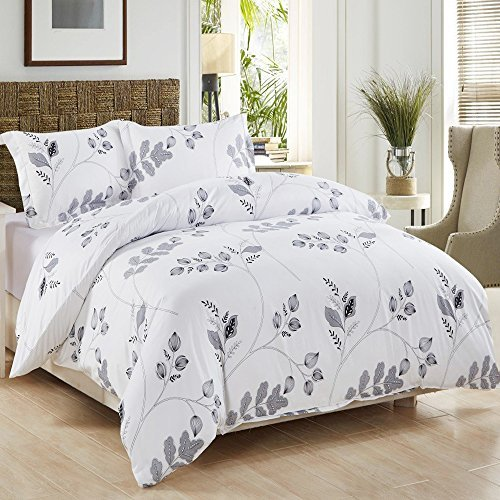 3 Piece Duvet Cover and Pillow Shams Bedding Set, Soft Microfiber Printed Design (King)