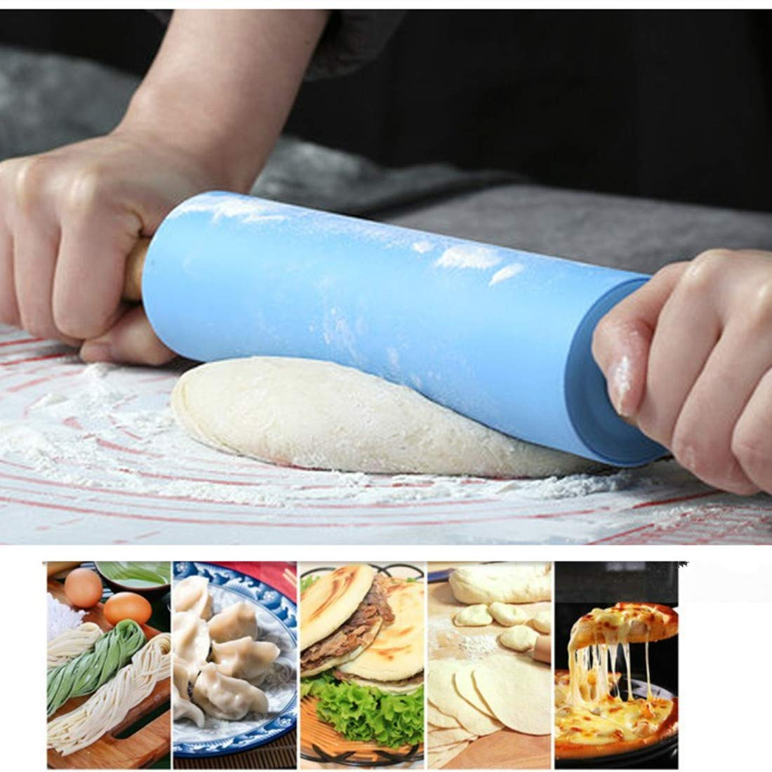 and Cookies,15 x 2 inches Kisshome Silicone Rolling Pins Dough Rollers Non Stick Rolling Pins Kitchen Tools for Baking Dough,Fondant,Pizza Pie Silicone Silicone