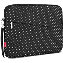 NiceEbag Shock Absorbing Carry Case Protecter Sleeve Bag with Security Strap for Tablet Laptop (15.6 Inch, White Dot)
