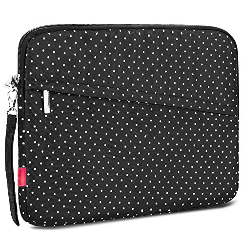 NiceEbag 15.6 Inch Laptop Sleeve Case Slim Messenger Bag Water-Resistant Cover For Notebook/Macbook/Surface/Chromebook/Ultrabook/Kindle - White Dots Laptop Sleeve Dot