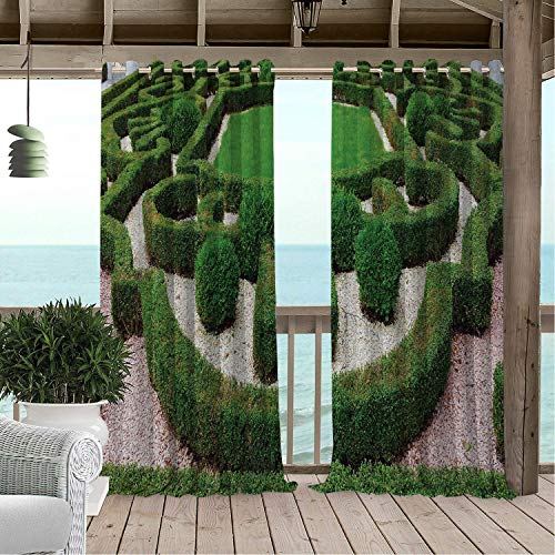 Outdoor Waterproof Curtain Boxwood Hedge Various Shaped Ornamental Park Garden Nature La rinth Photography Green and Pale Salmon Porch Grommets Decor Curtain 108 by 96 inch ()